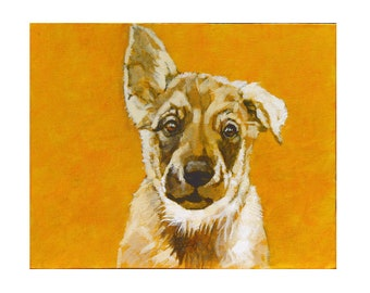 Painting of laika puppy