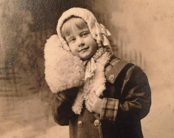 ON SALE 1912 Cute Little Girl Winter Fur Muff RPPC Real Photo Postcard Photograph Old Vintage Antique