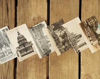 Set of 6 cards postcards Paris Versailles Fontainebleau vintage