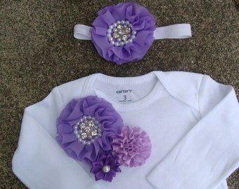 White and Purple flowers baby outfit Baby onsies Baby outfit take home outfit baby girl clothing handmade baby outfit newborn gown