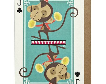 Jack of Clubs Monkey A6 Greeting Card