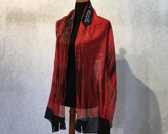 Red and Black Silk Tallit