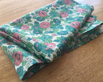 Vintage Feedsack Fabric. Floral. Turquoise. Pink. Coarse. Very Early 1940s