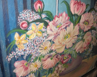 """ORIGINAL OIL PAINTING Floral Painting On Stretcher Board 24 3/4"""" x 22"""""""