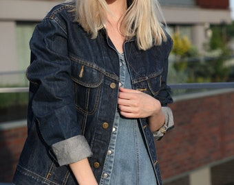 Vintage 90's Lee Navy Blue Denim Jacket