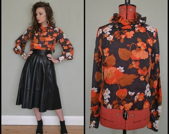 Vintage 1960's Janet Colton Ruffle High Neck Orange Floral Avant Garde Bishop Sleeve Blouse Size Small