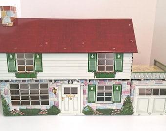 MARX COLONIAL DOLLHOUSE, Two-Story, Disney Nursery, Garage 1949-1951, Vintage Tin Litho House