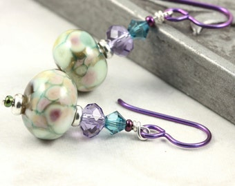 Multicolor Lampwork Earrings in Green, Teal Blue and Purple Crystal Purple Niobium Ear Wires Hypoallergenic Earrings Dangle Fall Jewelry