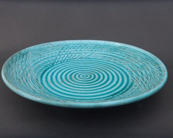 Handmade Turquoise Ceramic Plate, Earthenware Party Platter, Pottery Unique Centerpiece