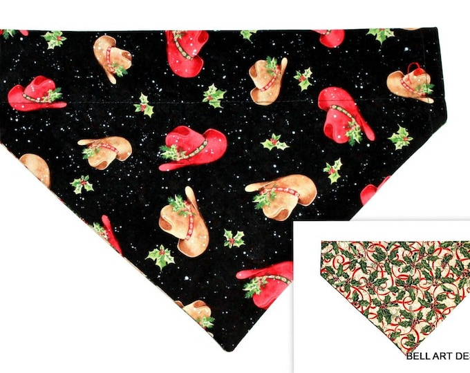 CHRISTMAS ~ Hats and Holly ~ Over the Collar ~ Reversible ~ Dog Pet Bandana ~ Bell Art Designs ~ Large DCL468