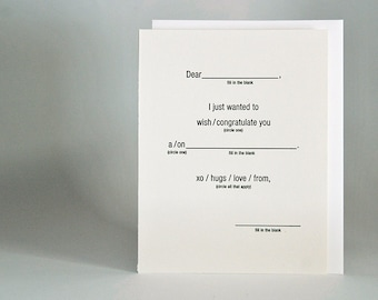 Funny Fill in the Blank All Occasion Card Letterpress Printed
