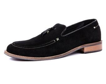 Mens Suede Black Tassel Slip On Loafers