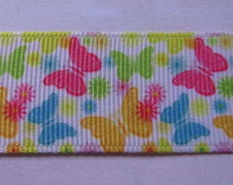 Ribbon grosgrain Ribbon 25mm wide multicolor butterflies pattern