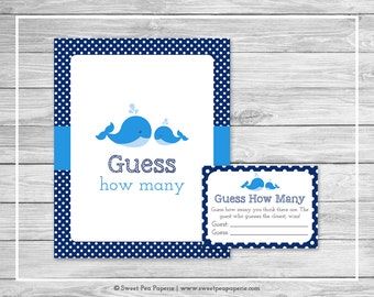 Whale Baby Shower Guess How Many Game - Printable Baby Shower Guess How Many Game - Blue Whale Baby Shower - Guess How Many - SP127