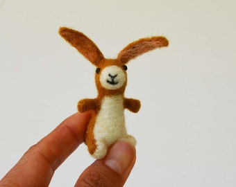 Radish, pocket rabbit, needle felted animal miniature soft sculpture art