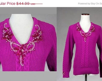 ON SALE Vintage 80s Hot Pink Electro Glam SEQUIN Trophy Sweater S