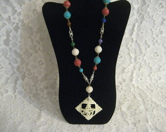 FUN ASIAN NECKLACE -  Big and Colorful - Nicely Carved