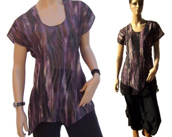AY600 ladies blouse chiffon tunic oversize layered look Eggplant Gr. 36-42