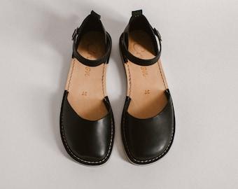 Leather Sandals, Summer Sandals, Women Sandals, Black Sandals, Summer Flats, Closed Toe, Casual Sandals, Summer Shoes, Slingback
