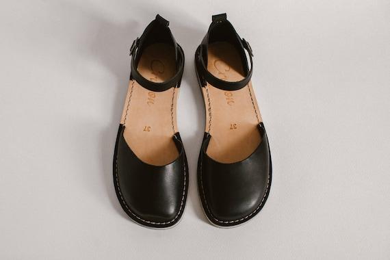Summer Sandals Sandals Toe Shoes Slingback Sandals Closed Women Summer Sandals Summer Leather Flats Black Sandals Casual nUx1wqIOEO