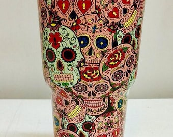 Sugar Skulls RTIC Tumbler Cup Stainless Steel Day of the Dead Hydrodipped FREE SHIPPING!