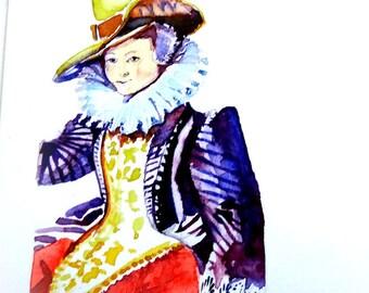 Handgeschilderde aquarel van 17-e eeuwse dame.