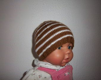 Wool (brown/white) baby Hat