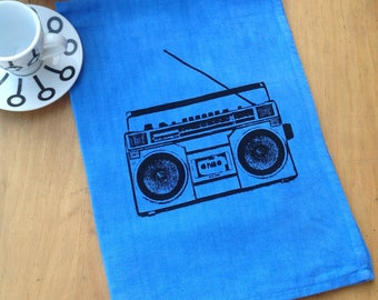 Tea Towel - Screen Print Tea Towel - Cotton Linen Towels - Beat Box - Blue Kitchen Towel - 80s Ghetto Blaster Tape Deck
