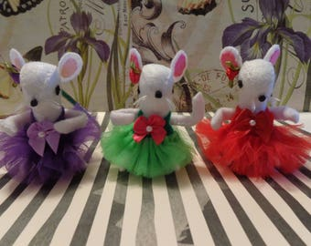 White Ballerina Mice Ornaments by Pepperland
