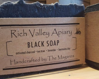 Black Soap with Activated Charcoal, Bentonite Clay, Lavender, Tea Tree Essential oils.