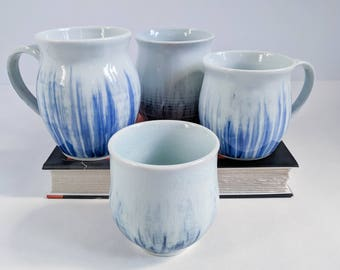 White porcelain mugs & cups with blue brush strokes