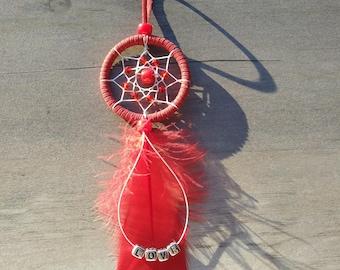 Handmade mini dream catcher red LOVE