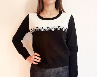Pure cotton sweater with jaquard print