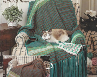Learn To Crochet Reversible Afghans Pattern Book, Home Decor, Bedspread, Bedding, Lap Blanket, Sofa Throw, American School Of Needlework