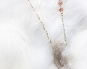 geode + peach moonstone necklace