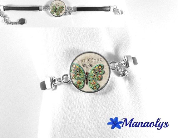 Butterfly, black leather, butterfly, multicolor dots 287 glass cabochon bracelet