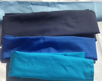 Blue Cotton Fabric Variety of Colors and Sizes