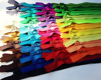 SALE, 7 inch YKK dress zippers, No 3 zippers, nylon coil, closed end, all purpose, bright, light, neutral colors assortment, Forty Pieces