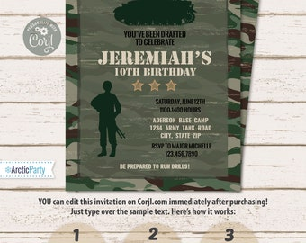 Military Party Invitations - Army Birthday - Camo Invitations - Military Invitation - Military Birthday Party Invitation - INSTANT ACCESS!
