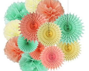 13pcs (Mint+ Peach+ Cream)Tissue Paper Fan Tissue Pom Pom Decoration, Wedding/Birthday/Christmas Decor,Party/Events Decor, Home Decor