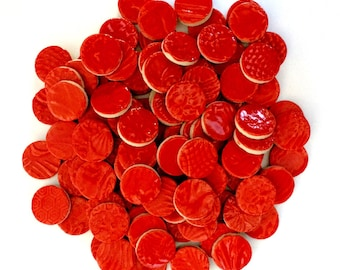 50 Red Ceramic Mosaic CIRCLE 1 inch Tiles - High Fired -Textured