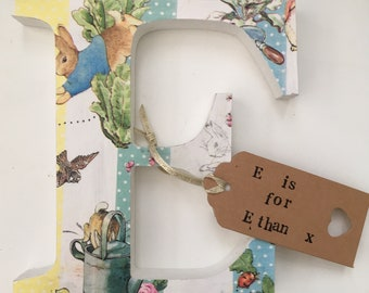 """Peter Rabbit Nursery any wooden letter . Freestanding 15cm (6"""") hand painted and decoupaged letter of choice with personalised  tag."""