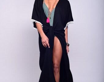 Black kimono cardigan, kimono robe, beach cover up, cover up, resort wear, beach wear, beach wrap, summer beach, womens cover up, summer