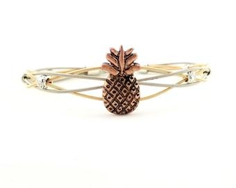Pineapple two tone guitar string bracelet