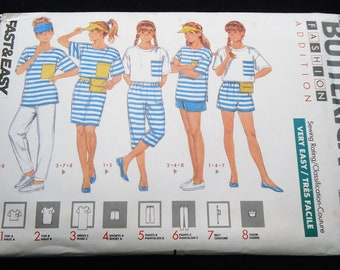 Butterick Fast And Easy Girl's Dress, Top, Shorts, Pants, Belt & Visor Pattern 3989 Size Small - Medium - Large Very Easy