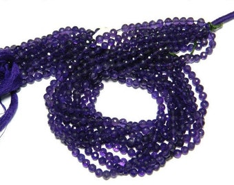 50 Strands Wholesale 4mm Amethyst Rondelles Beads, 14 Inch Strand, WS040
