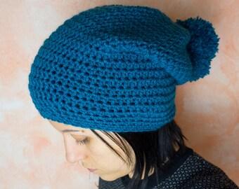 Crochet hat with pom poms, winter hat, crochet, women's accessories, pon pon, vegan friendly, acrylic hat