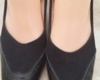 Vintage I Miller Ebony Black Suede and Leather Women's Pump Shoes Size 6-1/2 B