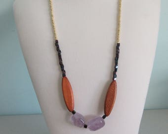 Amethyst Nuggets and Wooden Bead Necklace