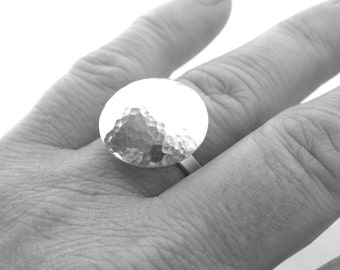 Hammered sterling silver ring, statement ring, Sterling silver ring, large silver ring, hammered dome ring, moon ring, ring size R, handmade